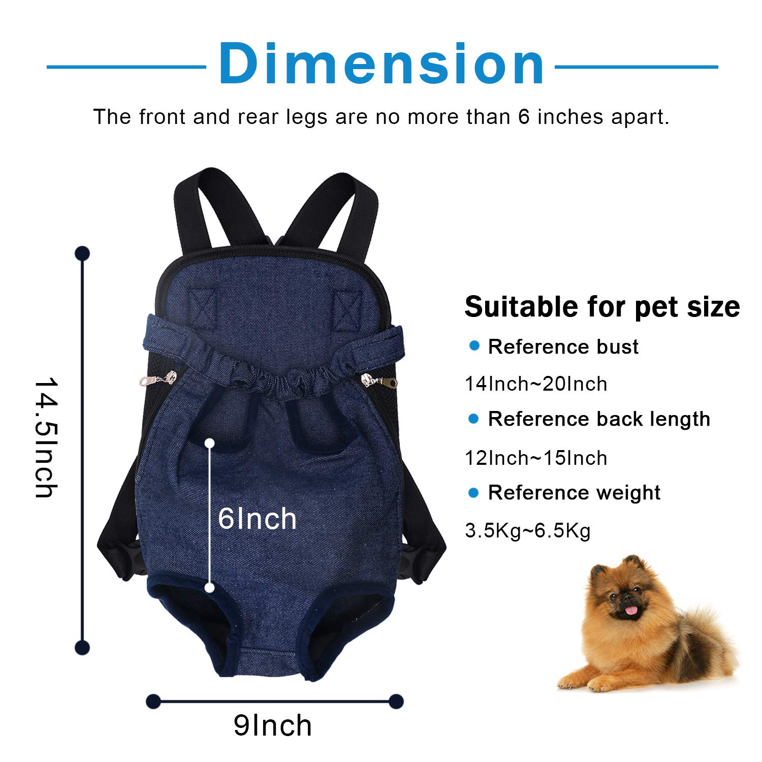 Esthesia Dog Carrier Backpack, Legs Out Front Pet Carrier Dog Leash Hands-Free Adjustable Backpack Travel Bag for Hiking, Camping, Bike Riding or Travel with Pet Puppy Doggie Cat Bunny Breeds Outdoor