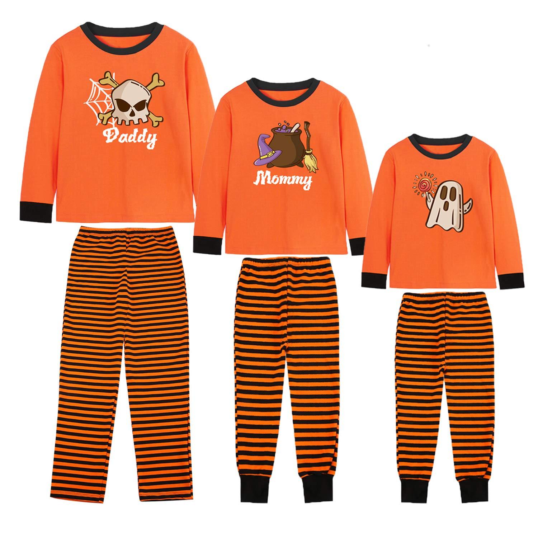 Rnxrbb Halloween Matching Family Pajamas Christmas PJs Set Xmas Sleepwear Cotton Stripe