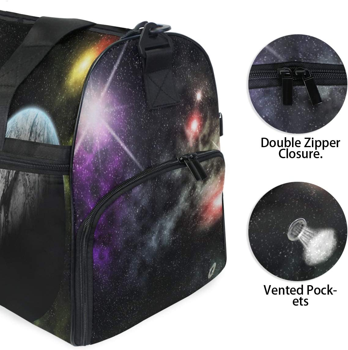 MUOOUM Galaxy Planet Earth Mars Large Duffle Bags Sports Gym Bag with Shoes Compartment for Men and Women