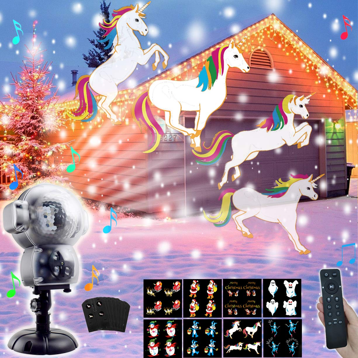 AIDERLY Halloween Christmas Music 8 Patterns Snow Projector LED Lights Indoor Outdoor Animated Rotating Snowfall Light with Remote for Landscape Xmas Decorations Stage Holiday Wedding Birthday Party by AIDERLY