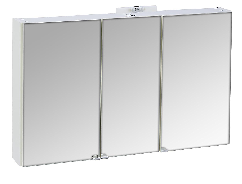 Posseik 5439–76 Armoire miroir 3 portes - 110 x 68 x 16 cm - blanc