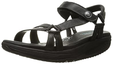 SKECHERS TONE UPS Womens sz 6 Slide Walking Sandals Black