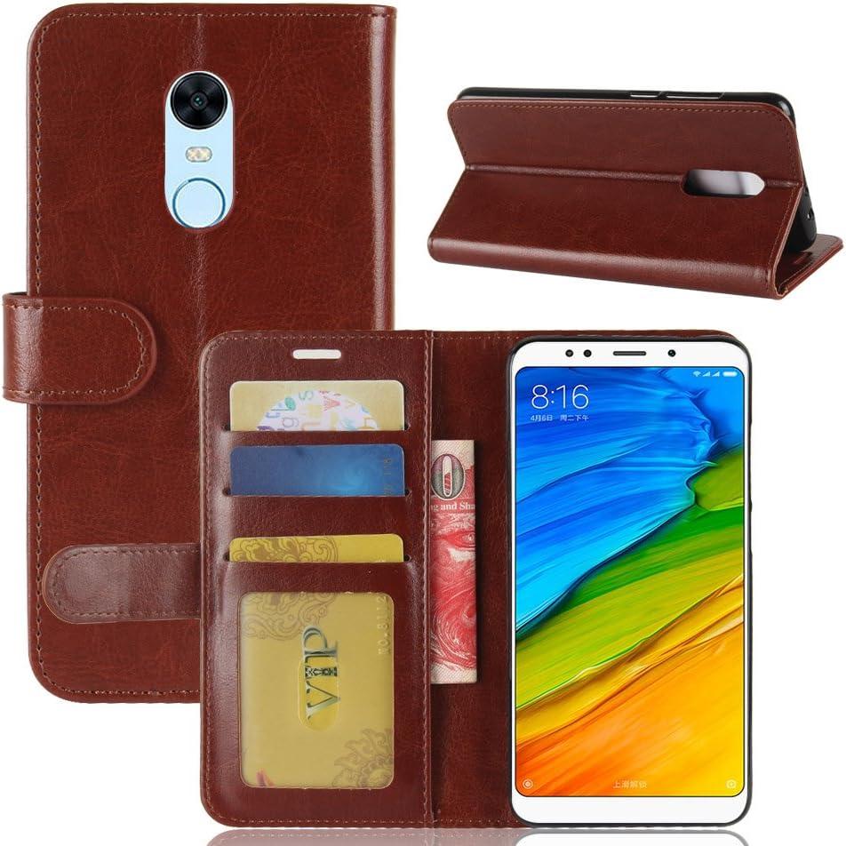 Cover Xiaomi Redmi 5 Plus Custodia portafoglio,GOGME[serie portafogli] Bella cover in ecopelle di ottima qualità morbida,Una bella custodia , finta pelle morbida , elegante e robusta.Marrone