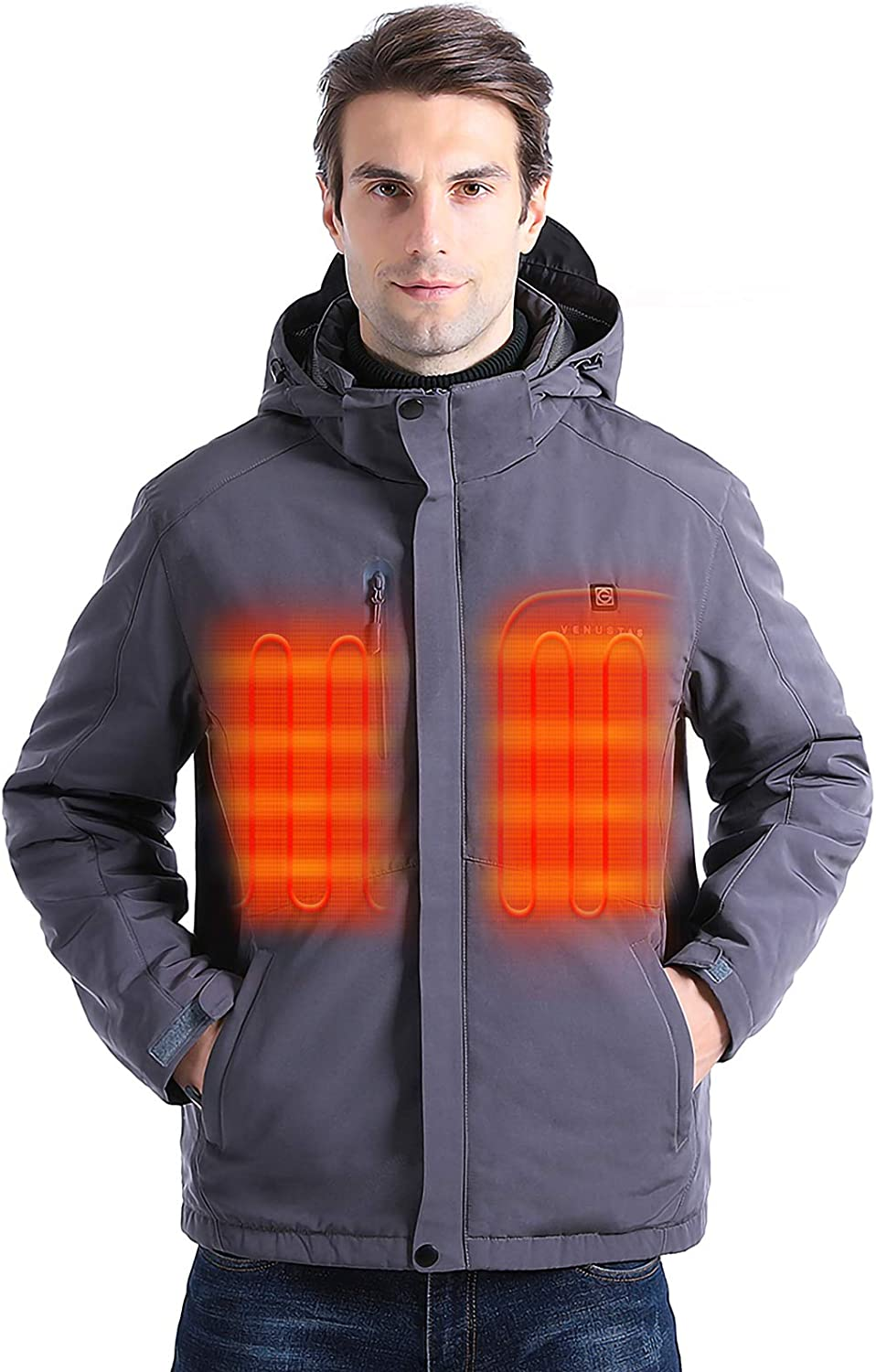 [2020 Upgrade] Men's Heated Jacket with Battery Pack 5V, Heated Coat with Detachable Hood and Waterproof& Windproof