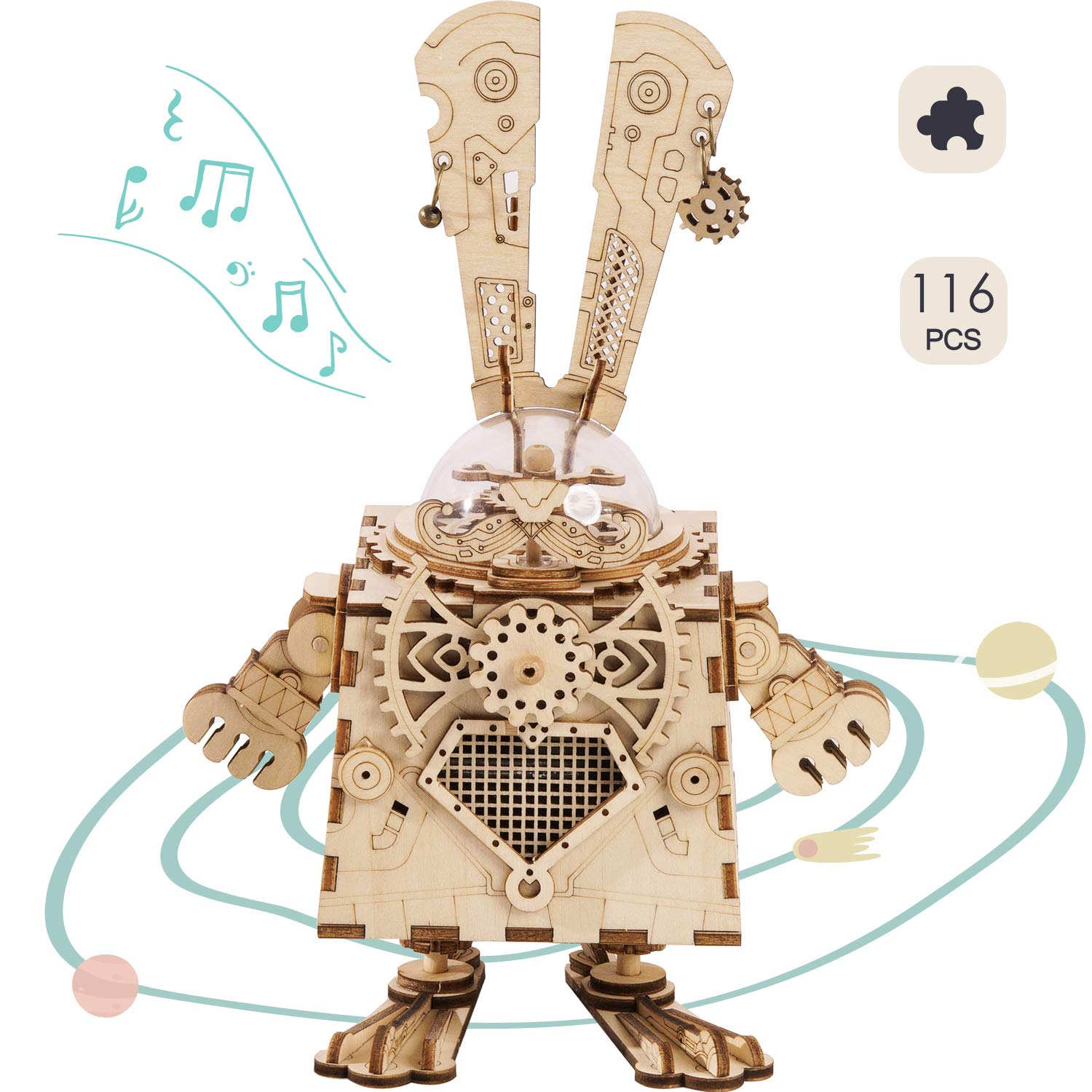 (Bunny) Bunny - ウサギ ROKR 3D Wooden Puzzle Girls Music Box Craft Kit DIY Toy Figures for Boys and Girls Bunny ウサギ B07NQCZPMX, 南山城村:ca09648d --- m2cweb.com