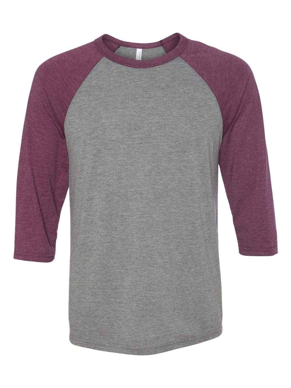 Bella 3200 Unisex 3 By 4 Sleeve Baseball Tee - Grey & Maroon Triblend, Extra Large