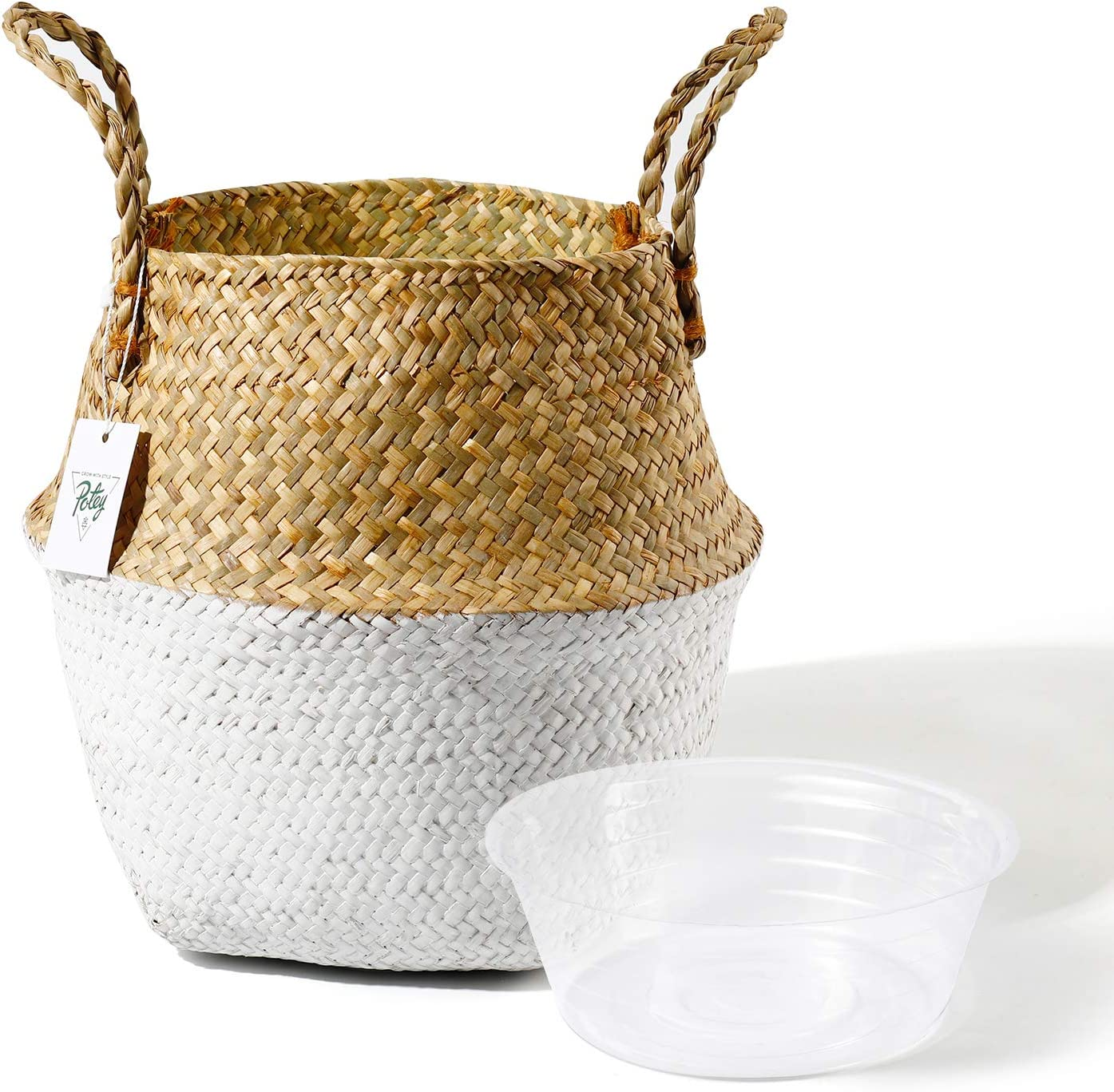 POTEY 710201 Seagrass Plant Basket - Hand Woven Belly Basket with Handles, Middle Storage Laundry, Picnic, Plant Pot Cover, Home Decor and Woven Straw Beach Bag (Middle, Original+White)