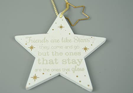 Four Seasons Wooden White Grey And Gold Hanging Star Decorations Friends Are Like Stars With Metal Hanging Star