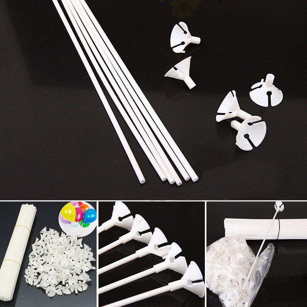 Bastones de plástico para globos, 100 unidades, color blanco, con vasos para bodas, fiestas y decoración 32 cm blanco