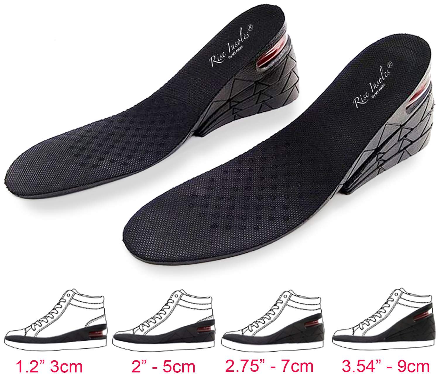 "Height Increase Insoles, 4-Layer Orthotic Heel Shoe Lift kit with Air Cushion Elevator Shoe Insole Lifts Kits Inserts for Men & Women Taller Insoles 1.2"" to 3.5"" Variable Height Adjustable"