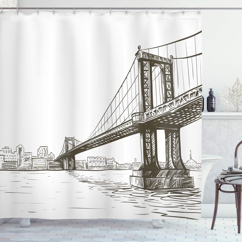 "Ambesonne New York Shower Curtain, Digital Drawn Brooklyn Bridge Unusual Graffiti Style Old Urban Cityscape Print, Cloth Fabric Bathroom Decor Set with Hooks, 70"" Long, Brown White"