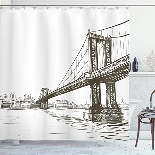 Grunge Shower Curtain Urban Abstract Cityscape Print for Bathroom