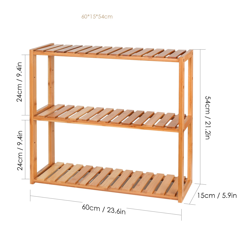 HOMFA Bamboo Bathroom Shelf 3-Tier Multifunctional Adjustable Layer Rack Wall Mounted Utility Storage Organizer Bathroom Kitchen Living Room Holder