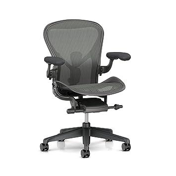 san francisco 0f98c acead Herman Miller Aeron Task Chair: Tilt Limiter/Seat Angle - PostureFit SL -  Fully Adj Arms - Dark Carbon Vinyl Armpad - Carpet Caster