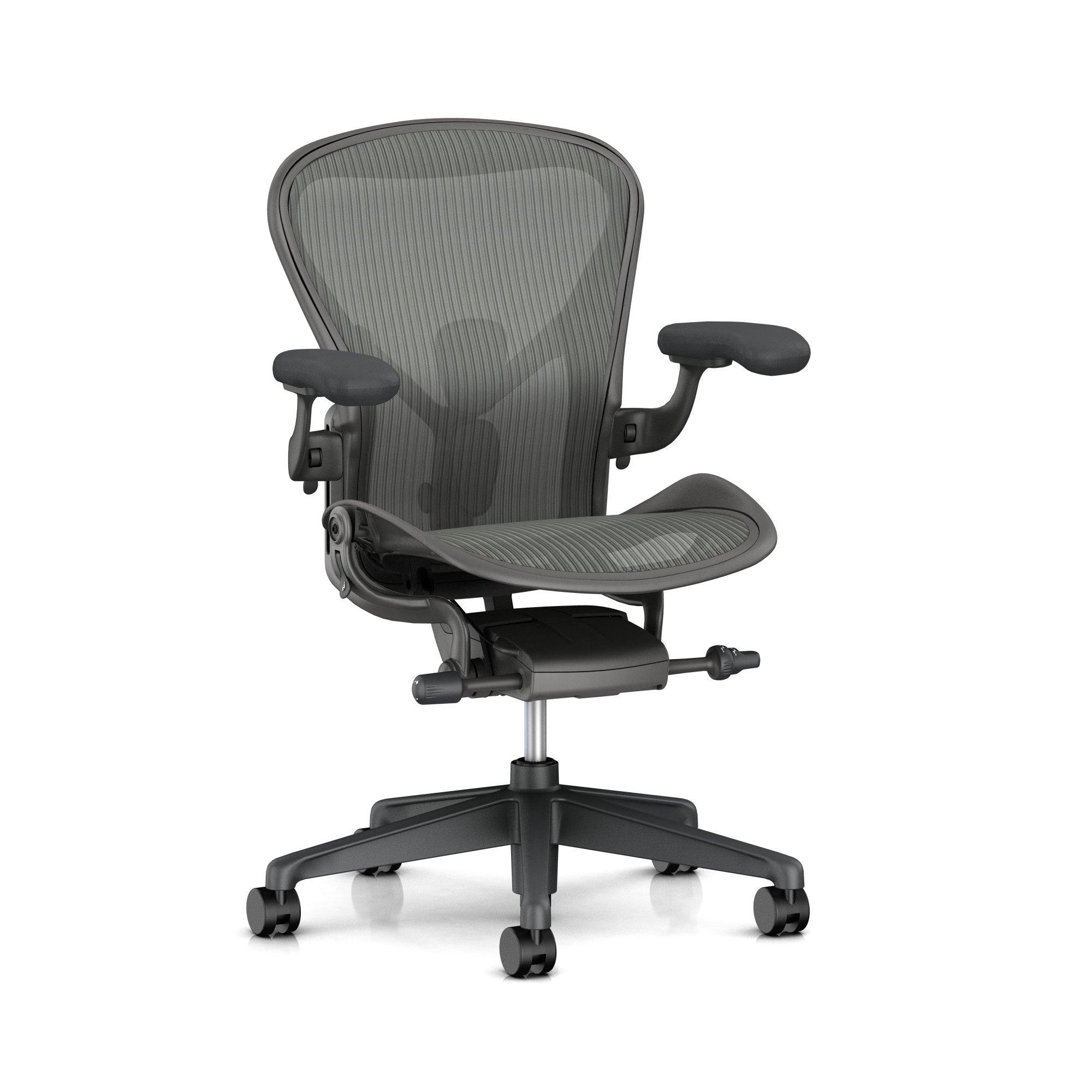 Herman Miller Aeron Task Chair: Tilt Limiter/Seat Angle - PostureFit SL - Fully Adj Arm + Armpad Depth - Dark Carbon Vinyl Armpad - Hard Floor Caster