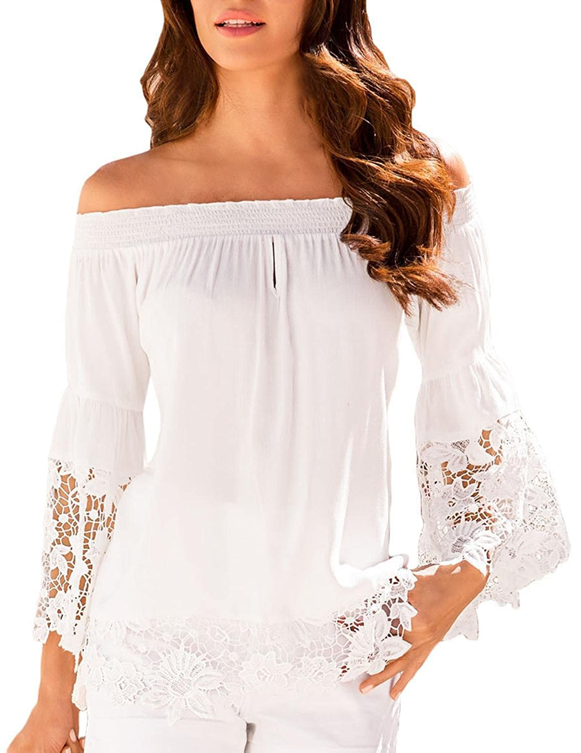 Fempool Woman White Off-The-Shoulder Lace Trim Blouse