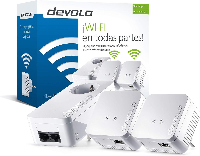 Devolo dLAN 550 WiFi Network Kit PLC - Adaptadores de red Powerline (500 Mbps, 3 x Powerline adaptadores, 1 x puerto LAN, enchufe WiFi, amplificador de señal WiFi, mejorar WiFi, WiFi Move),