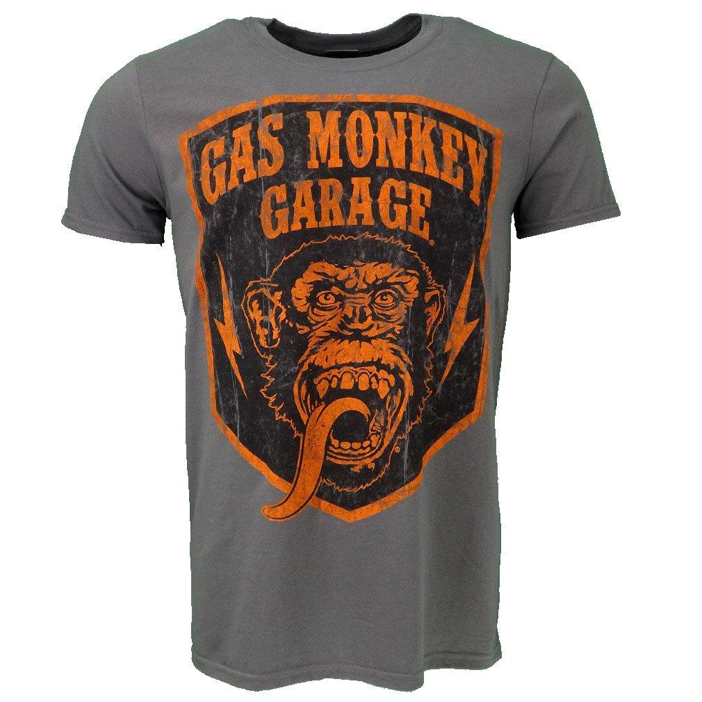Gas Monkey Garage Shield T-shirt Gris Officiel Autoris/é TV