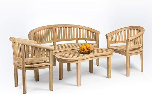 Rongo - Juego de muebles de jardín de madera de teca, hechos a mano: Amazon.es: Hogar