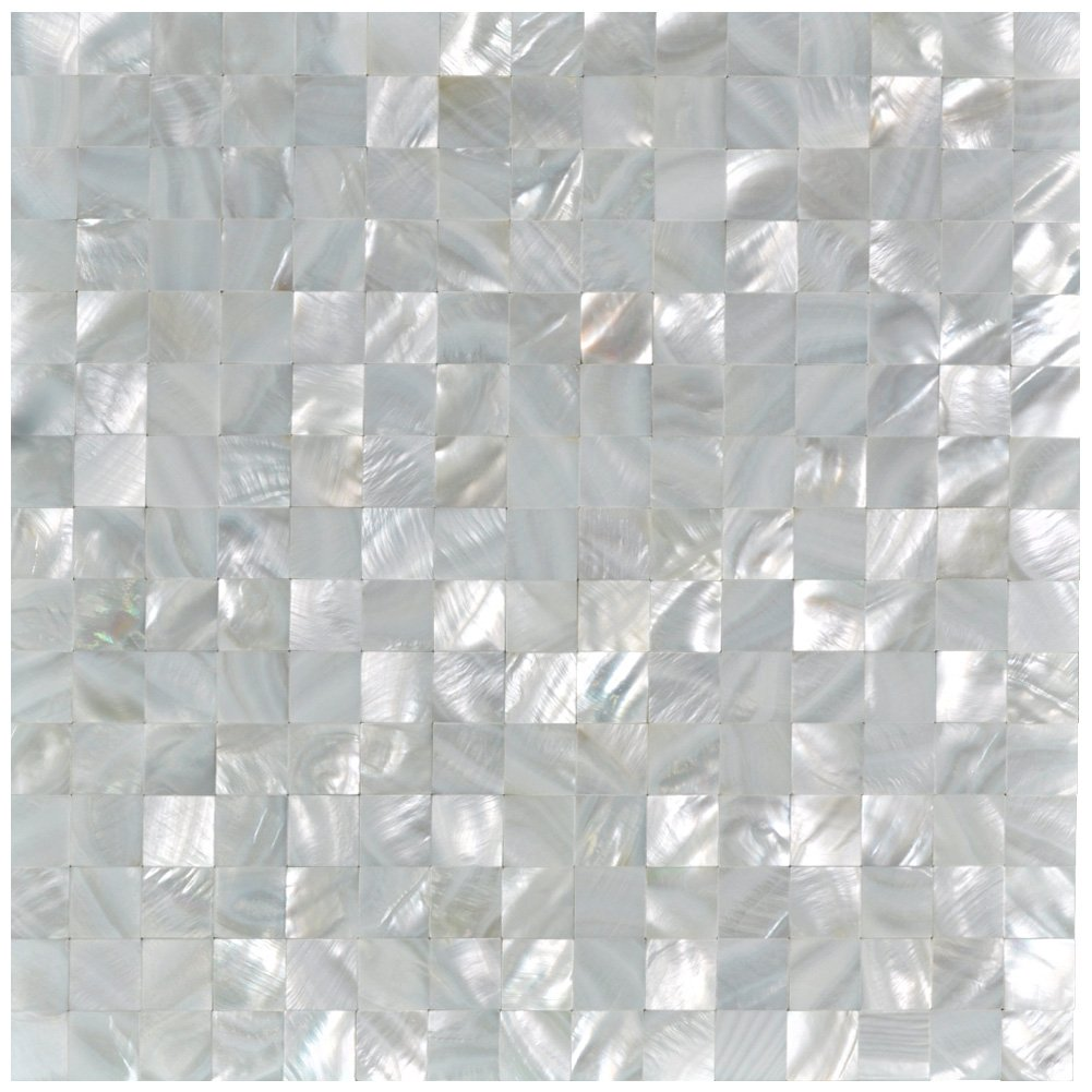 Art3d Mother of Pearl Oyster White Mini Square Mosaic Tiles Seamless Splice 10 Sq Ft Pack of 10