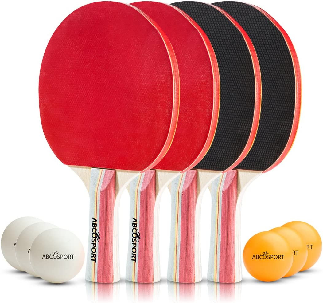 Table Tennis Set - Premium Paddles/Rackets and 6 Table Tennis Balls - Soft Sponge Rubber - Ideal for Professional & Recreational Games - 2 or 4 Players - Perfect Set On The Go. by Abco Tech