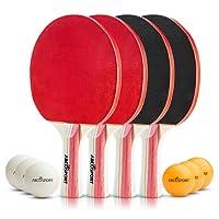 Abco Tech - Juego de 4 Raquetas de Tenis de Mesa y 6 Pelotas de Tenis de Mesa, Goma de Esponja Suave, Ideal para Juegos Profesionales y recreativos, 2 o 4 Jugadores
