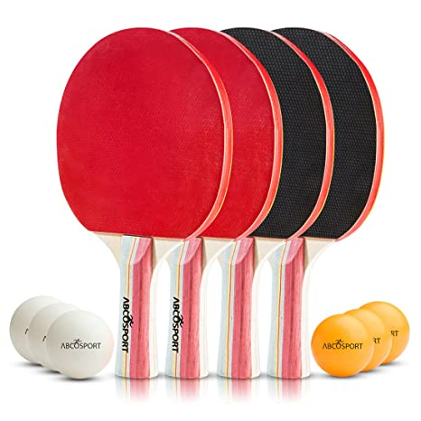 Amazon.com : Table Tennis Ping Pong Set - Pack of 4 Premium Paddles ...