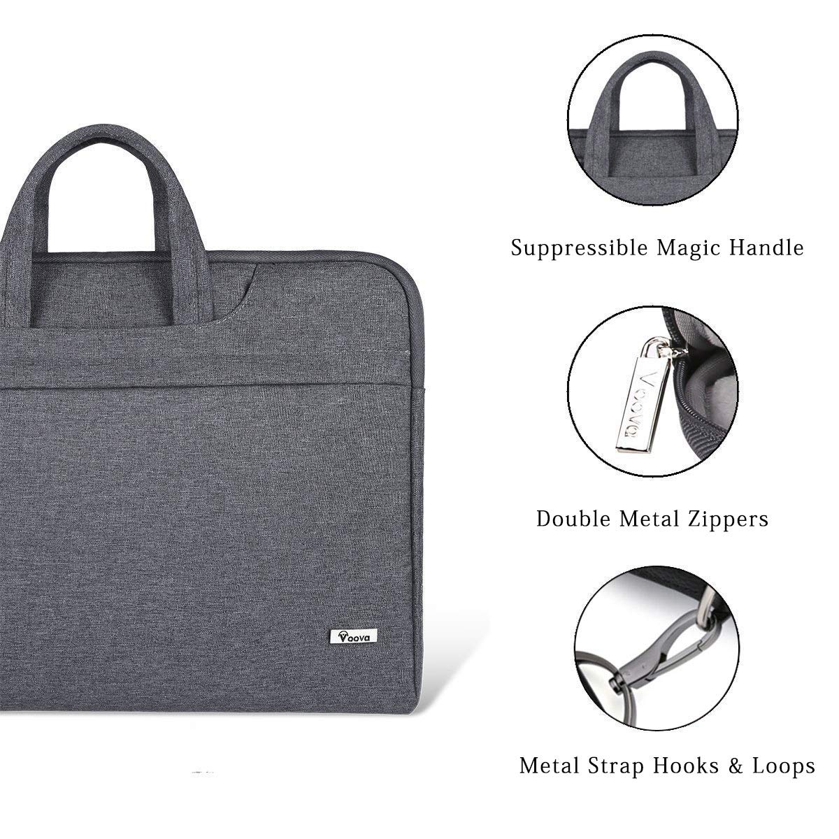 Voova Laptop Bag 17 17.3 inch Water-Resistant Laptop Sleeve Case with Shoulder Straps & Handle/Notebook Computer Case Briefcase Compatible with MacBook/Acer/Asus/Hp, Grey by  Voova (Image #5)