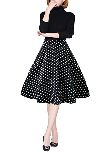 0f555568f609 emondora Women Printed Flared Skirt Retro Casual 1950s Swing Pleated Midi  Skirts Black Dots S