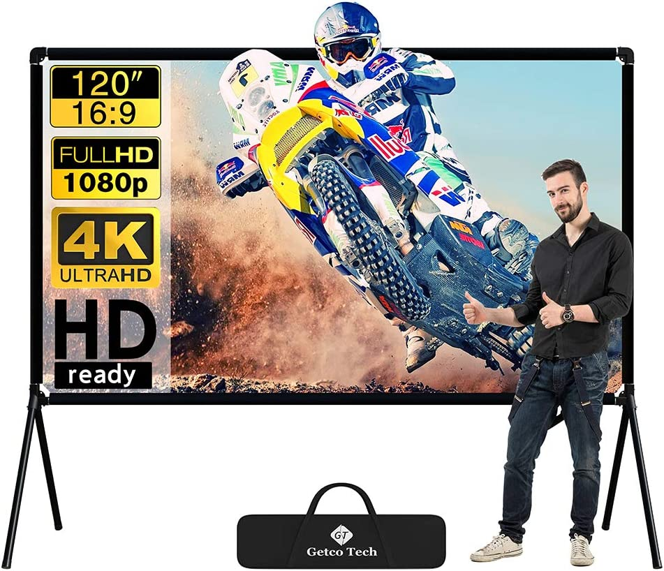 Projector Screen with Stand Foldable Portable Movie Screen 100 Inch(16:9), HD 4K Double Sided Projection Screen Indoor Outdoor Projector Movies Screen for Home Theater (120 Inch)