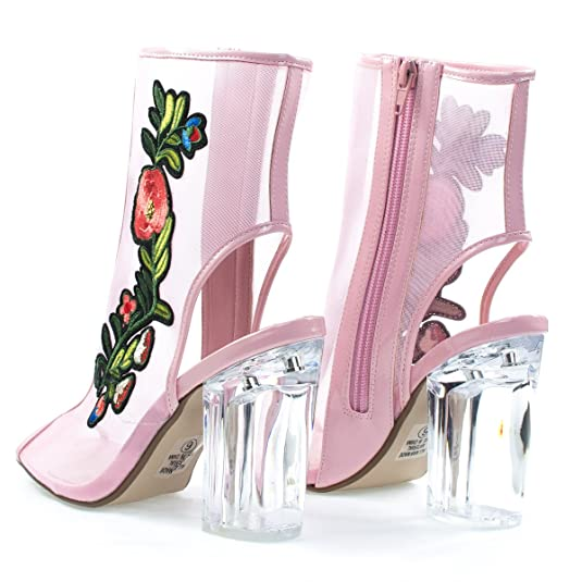 Amazon floral embroidered patch lucit perspex block heel see amazon floral embroidered patch lucit perspex block heel see through mesh bootie ankle bootie mightylinksfo