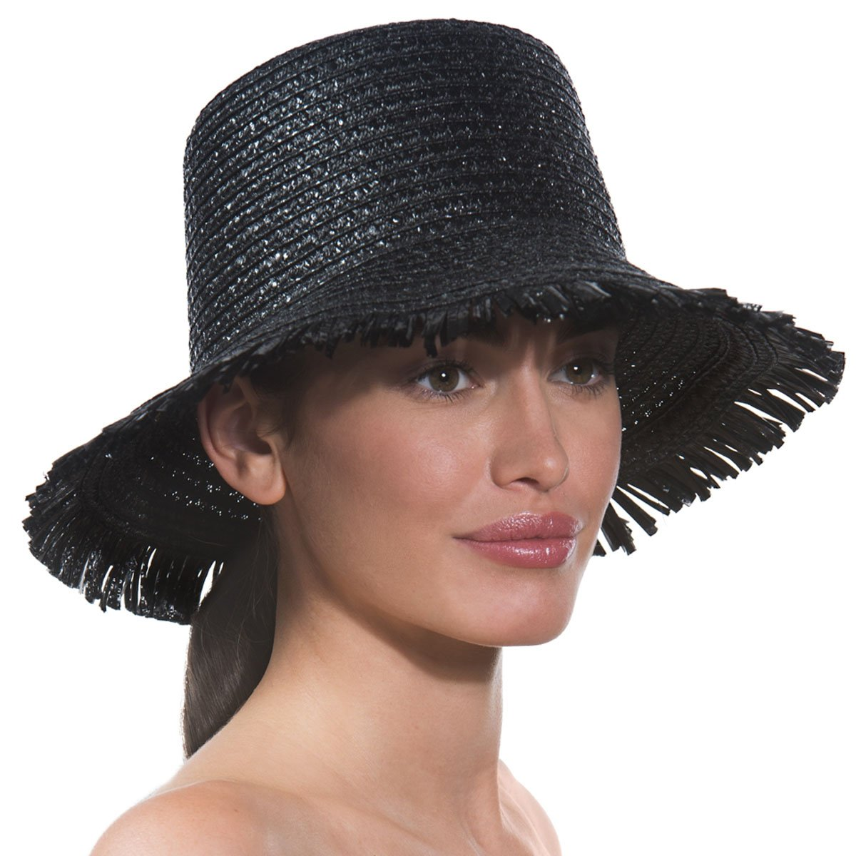 Eric Javits Luxury Fashion Designer Women's Headwear Hat - Tiki Bucket - Black