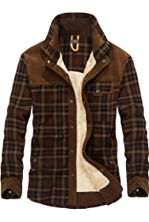 Coolred-Men Long-Sleeve Square Collar Japanese Casual Plaid Shirts Jackets