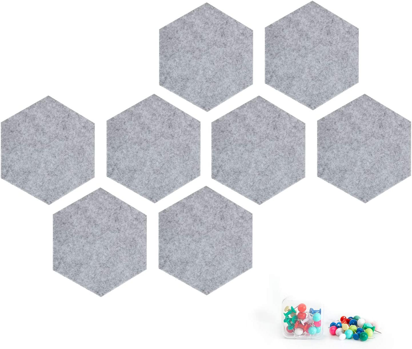 8 Pieces Felt Hexagon Tile Board Cork Board for Wall Decor Self Adhesive Wall Bulletin Boards for Notes,Pictures,Photos,Memo, Office and Home Decor,Light Gray