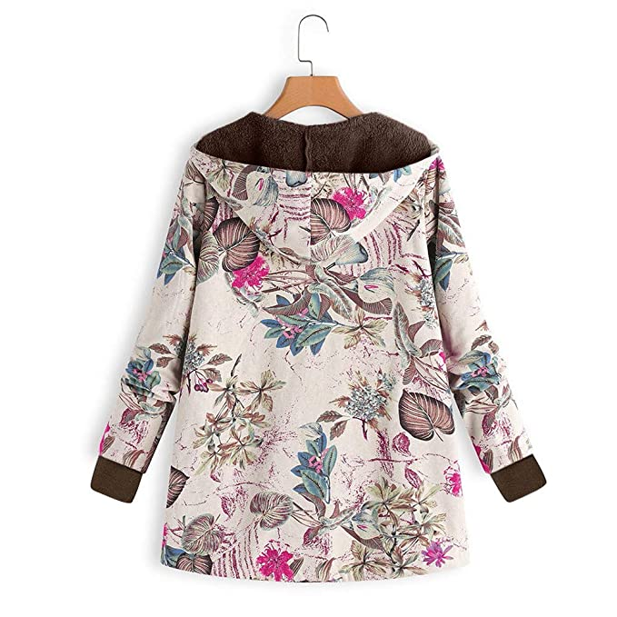 Amazon.com: Womens Floral Print Vintage Oversize Winter Warm Hooded Jacket Cardigan Overcoat Outwear Coat: Clothing