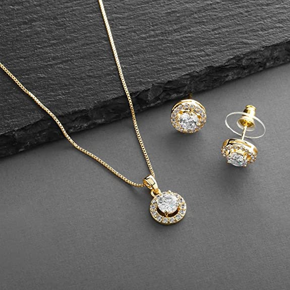 54e72989f63f Amazon.com  Mariell Ultra Dainty 10.5mm Cubic Zirconia Round Halo Necklace  and Stud Earrings Set Plated in 14K Gold  Jewelry