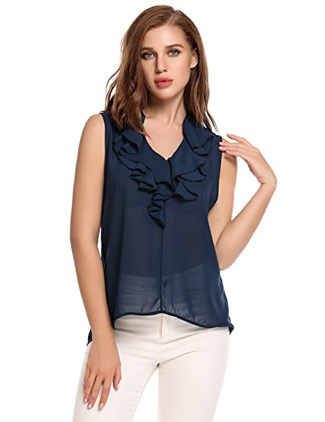 f1b4852e4c1958 Meaneor Women's Sleeveless Ruffle Front Tank Top Sexy V Neck Office Chiffon  Blouse Shirt at Amazon Women's Clothing store: