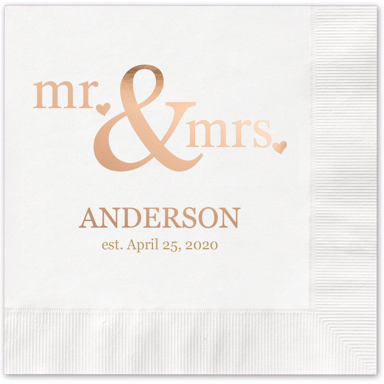 Mr & Mrs Hearts Personalized Beverage Cocktail Napkins - 100 Custom Printed White Paper Napkins with choice of foil