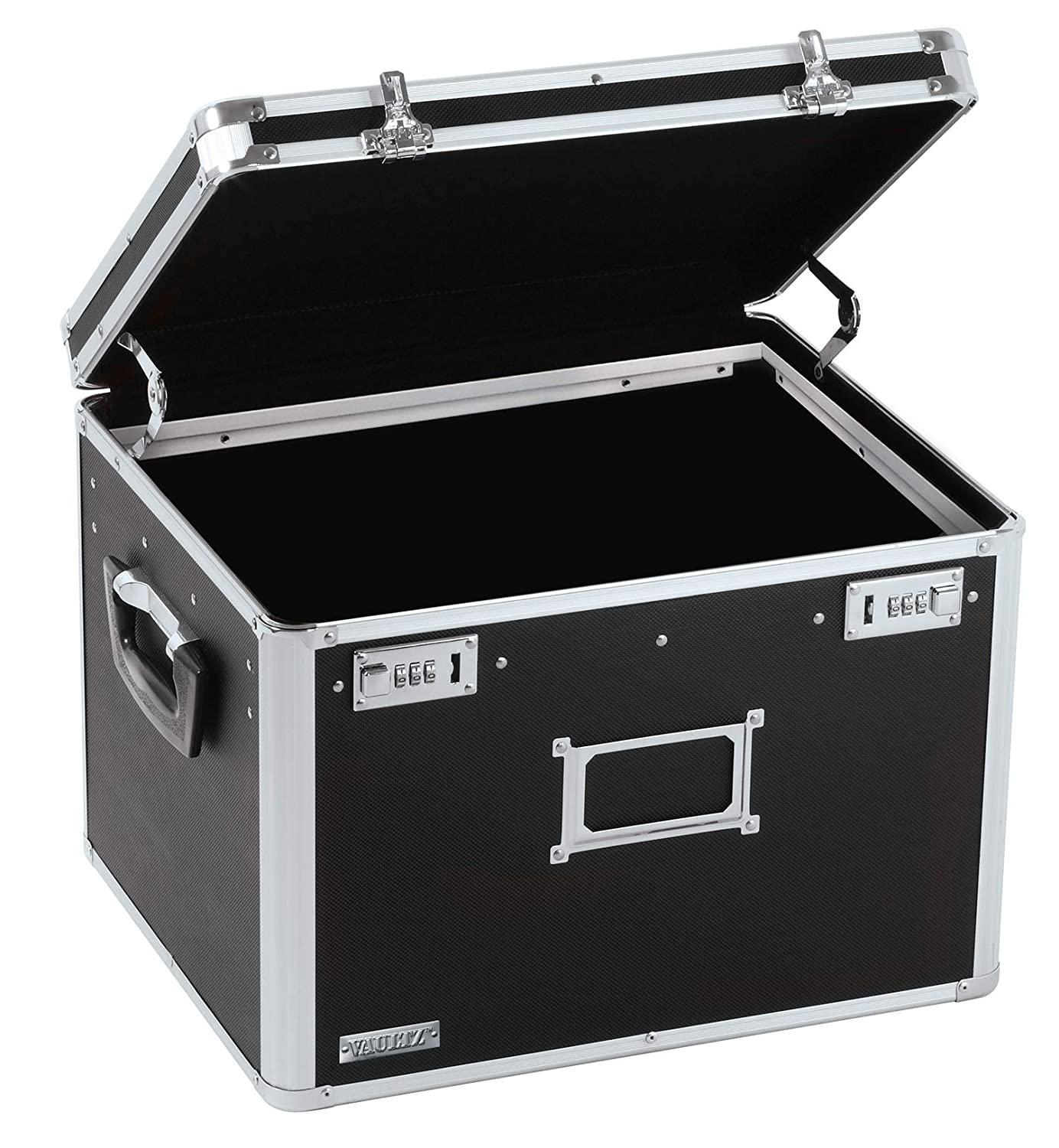Vaultz Locking File Storage Chest, Two-Handled, Letter/Legal File Storage, 17 1/2 W x 14 D x 12 1/2 H Inches, Black (VZ01008)