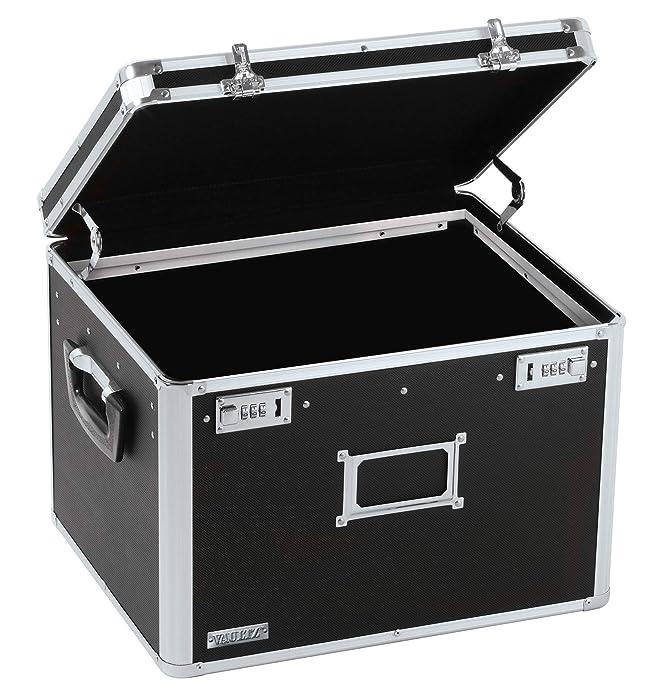 Vaultz Locking File Storage Chest, Two-Handled, Letter/Legal File Storage, 17 1/2 W x 14 D x 12 1/2 H Inches, Black (VZ01008)