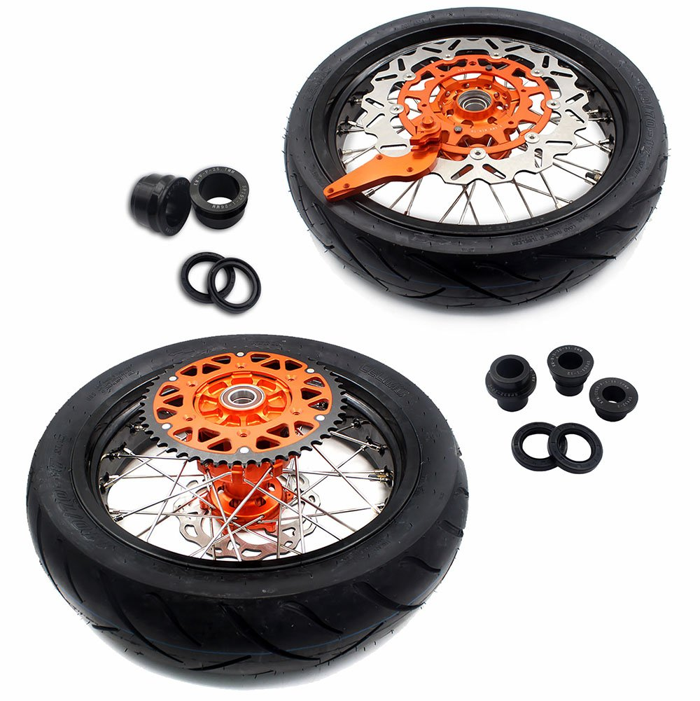 KKE KTM 3.5/4.25 SUPERMOTO MOTARD CUSH DRIVE WHEELS RIMS SET WITH TIRE & DISC EXC SX XCW XCF 125CC 250CC 350CC 450CC 530CC