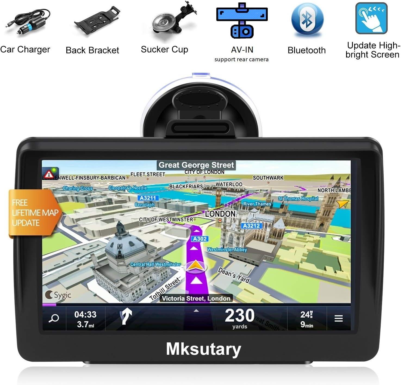 GPS Voiture GPS Voiture Bluetooth GPS Voiture Auto Navigation 7 Pouces /Écran Tactile Capacitif Haute-Lumineux Carte Europe et Angleterre Mise /à Jour Gratuite /à Vie GPS Monde Voiture