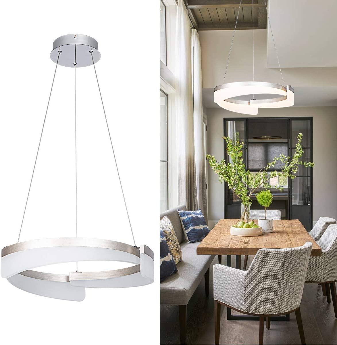 Sea Gull Lighting 6525401-04 Hudson Street One-Light Pendant Hanging Modern Light Fixture, Satin Aluminum Finish