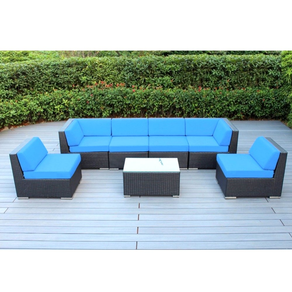 Outdoor furniture sectional sofa 7 pc resin patio 2 corner chairs 4 armless chairs 1 coffee table water and uv resistan lounge set pool side relax black