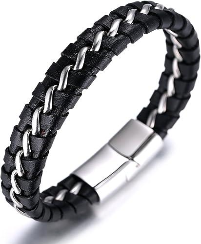 Good work s Bracelet Cuir Argent//Noir
