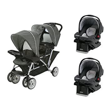 Graco Duoglider Click Double Stroller Snugride Car Seats Travel System Glacier