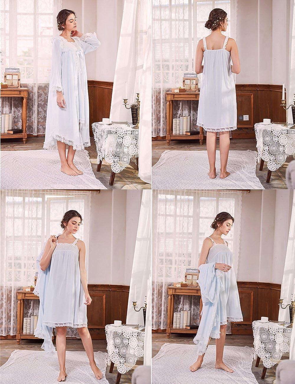Aikosha Womens Retro Palace Style Full Flare Sleeve Two Piece Lace Cotton  Nightdress Set at Amazon Women s Clothing store  60863c3a9