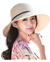 Siggi Womens Floppy Summer Sun Straw Hat UPF50 Foldable Panama Soft Breathable