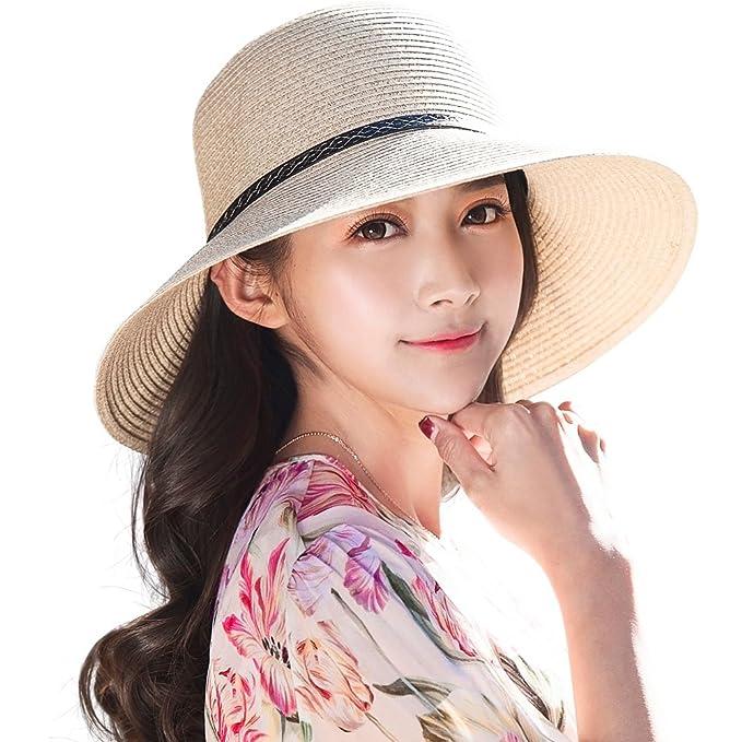 7bc17ce7850 Siggi Ladies Summer Straw Panama Beach Fedora Floppy Sun Hat Wide Brim  Bowknot for Women Beige  Amazon.co.uk  Clothing