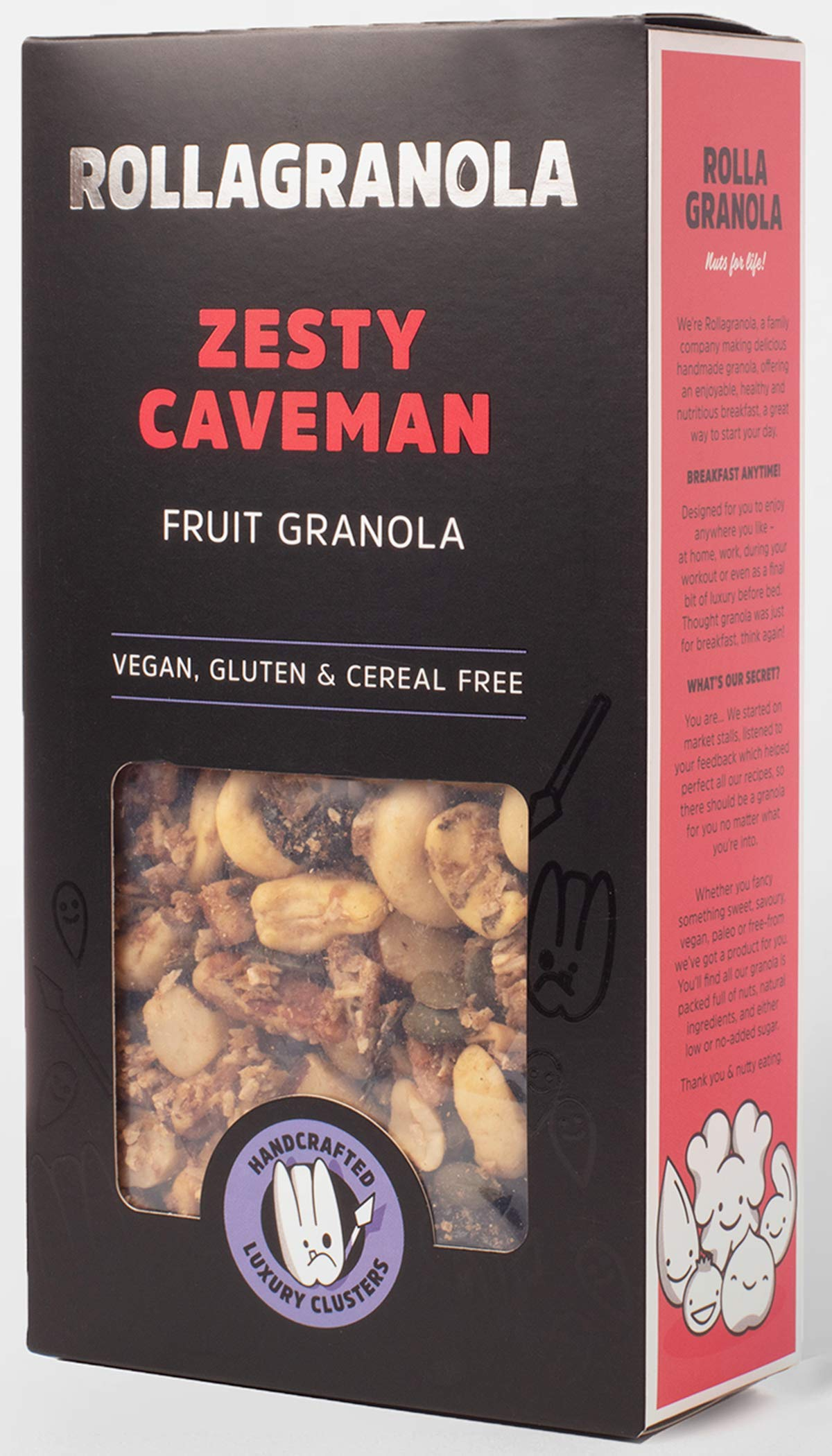 Rollagranola: Zesty Caveman Paleo Fruit Granola | 100% Natural & Healthy Wholefoods | Gluten Free | Cereal Free | Vegan | No Refined Sugar | Ideal for Diabetics - 300g Pack